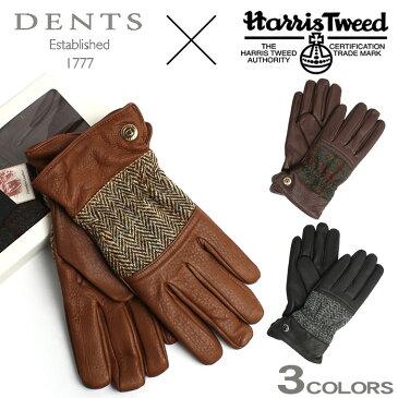 デンツ DENTS 手袋 ハリスツイード ディアスキン(鹿革) カシミア100% ライニング 手袋 ツイード グローブ 全3色 DENTS TWEED GLOVE 15-1598 メンズ MEN レザーグローブ 本革 裏地 カシミヤ 100% ハンドメイド