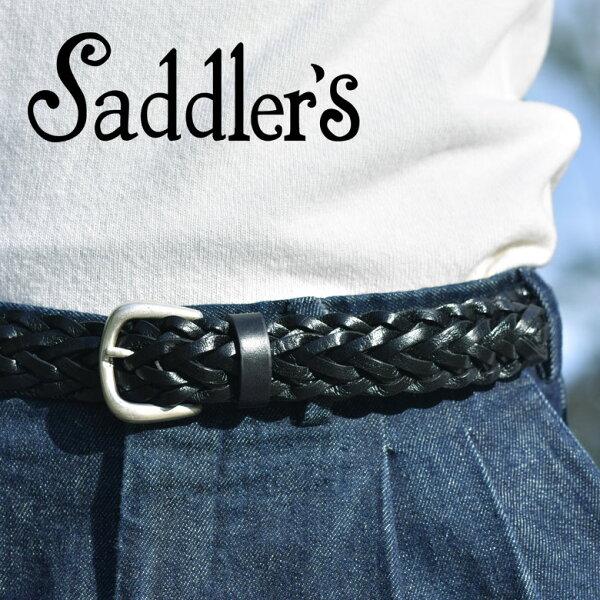 サドラーズメッシュベルト3cm手編みハンドメイドカーフレザー本革シンプルバックルG256Saddler'sメンズブラックブラウン