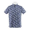 フィドラ(FIDRA) リーフ柄 半袖ポロシャツ ボタンダウンシャツ FDA0328-NVY (Men's)