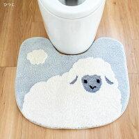 ファンディットアニマルトイレマット豆しばひつじch201027丸洗い可洗える滑り止め犬シバイヌ