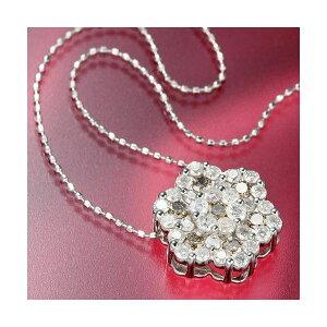 【ポイント2倍】K18WG合計1ctダイヤモンドペンダント/ネックレス送料無料!【02P11Mar16】
