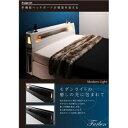 モダンライト・コンセント付き収納ベッド Farben ファーベン 羊毛入りゼルトスプリングマットレス付き ダブル ホワイト 2
