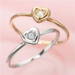 【ポイント2倍】K10ハートダイヤリング指輪ピンクゴールド17号送料無料!