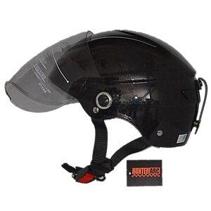 【ポイント2倍】スタイリッシュな開閉式シールド付きハーフヘルメットメタル ブラック