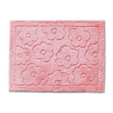 バスマット/フロアマット 【約60×85cm ピンク】 吸水 抗菌 防臭 裏面滑り止め加工 『乾度良好 サニー』