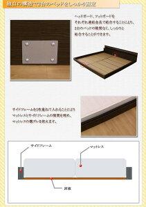 パネル型ラインデザインフロアベッドシングル二つ折りポケットコイルマットレス付ホワイト287-01-S(10885B)【】送料込!