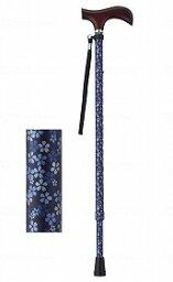 夢ライフステッキ 柄杖伸縮型(スリムタイプ)/ダークブルーフローラル/ギフトボックス仕様 ウェルファン 009714