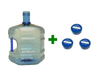 WB-007取っ手付きウォーターサーバー用ガロンボトル容器シンプルスクリューキャップ3個付き(繰り返し使用可能)