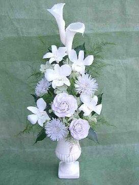 彗華 純白のカラーと薄藤色のバラと菊のニュアンスアレンジ プリザーブドフラワー[PW]