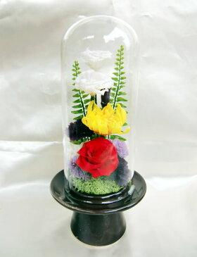 ガラス ケース 入 仏花 ガラス ケース 入 淨じょう トルコキキョウ 黄色 輪菊/プリザーブドフラワー【RCP】[PW]