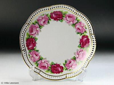 ドイツ・ババリア地方!  豪華でエレガント!【シューマン】ピンク2色の薔薇 プレート(デザート)