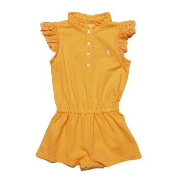 ラルフローレン RALPH LAUREN ベビー 女の子 フラッタースリーブ ロンパース Flutter-Sleeve Mesh Romper オレンジ Fair Orange