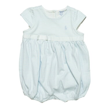 ラルフローレン RALPH LAUREN ベビー 女の子 Striped Cotton Jersey Romper ブルー ホワイト Beryl Blue White