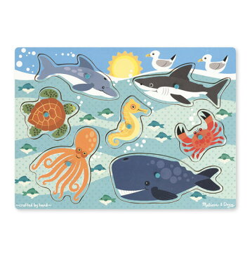 メリッサ&ダグ 海洋生物 ペグパズル 7ピース Melissa & Doug Sea Creatures Peg Puzzle 7 pieces