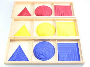 モンテッソーリ まる、三角、四角 3箱セット Montessori Circles, Squares, and triangles 知育玩具