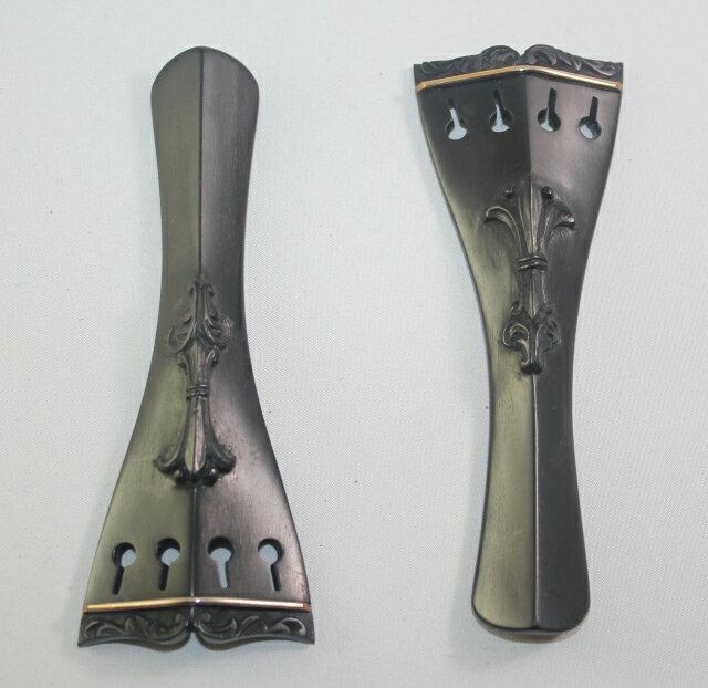 装飾彫刻 黒檀テールピース、ヒル型、ゴールド・フレット #2