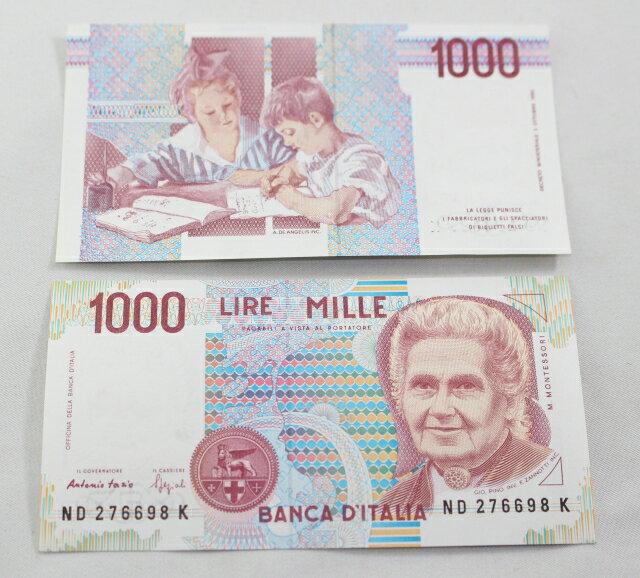 イタリア 1000リラ紙幣 ♪新札♪ マリア・モンテッソーリ Italy 1000 LIRE 100 Uncirculated Maria Montessori画像