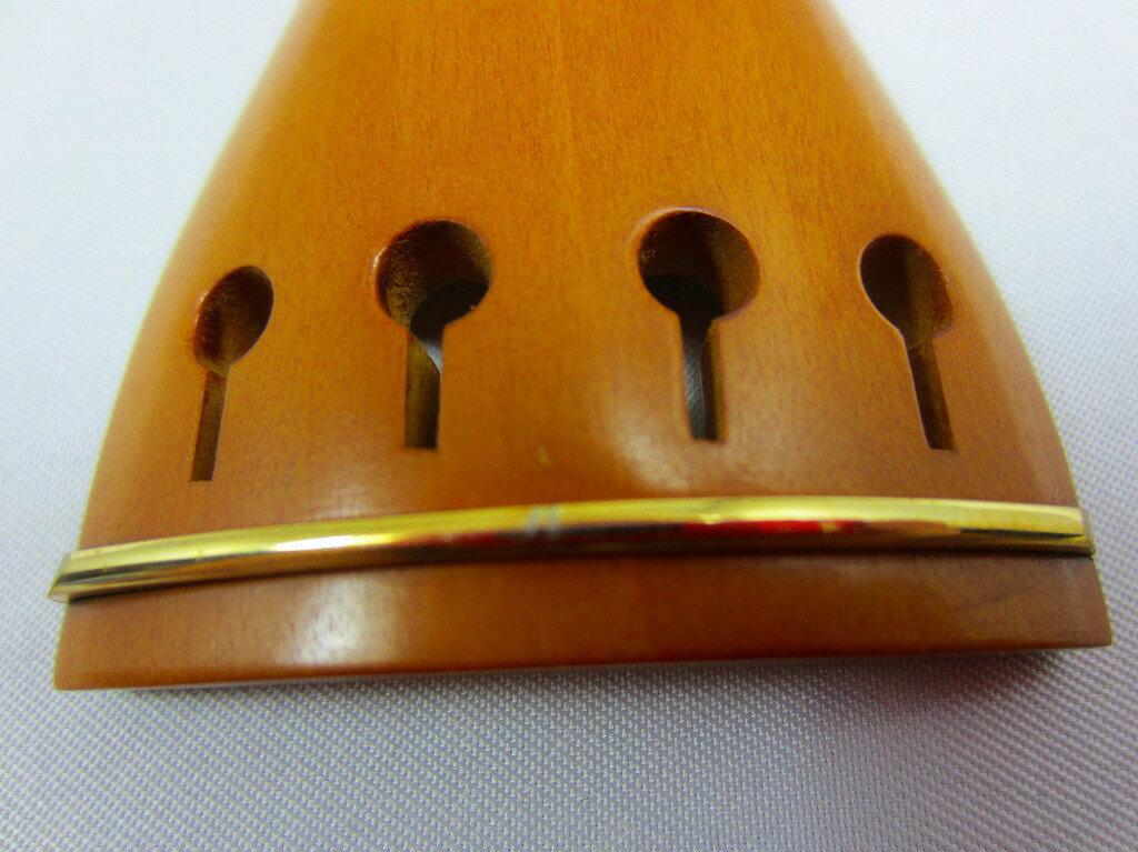 柘植のテールピース、ラウンド型、ゴールド・フレット