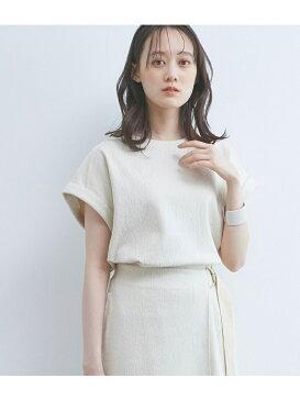 【UVケア】【マシンウォッシャブル】【セットアップ対応】ジャカードクルーネックTシャツ ViS ビス カットソー カットソーその他 ホワイト ブラック ブラウン[Rakuten Fashion]