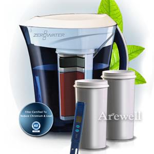 ZeroWater(ゼロウォーター)3リットルピッチャーセット(フィルタ・簡易水質計測器付)