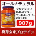 オールナチュラル発芽玄米プロテイン 907g アスパルテーム-フリーチョコ味大豆-フリー、乳製品-フリー、非遺伝子組み換え、ビーガン、スプラウテッド ブラウンライス・プロテインSprouted Brown Rice Protein,2lb【220926】