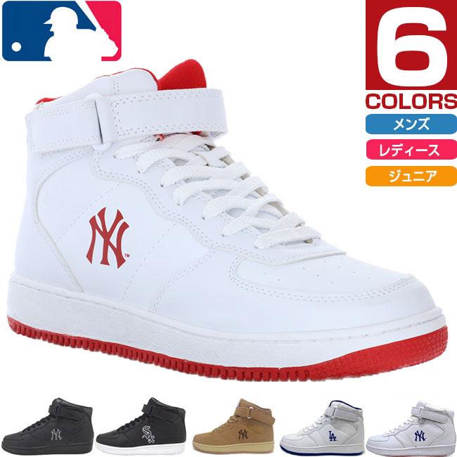 【送料無料】 メジャーリーグベースボール MLB メンズ レディース ニューヨークヤンキース NY LA スニーカー シューズ ハイカット MLB-2011画像