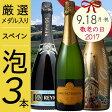【送料無料】プレゼントに♪ 厳選辛口スパークリングワイン3本セット ワインセット/スペインワイン