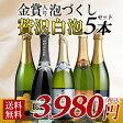 【送料無料】当店人気の辛口泡セット♪ スパークリングワイン5本セット 辛口/スパークリングワイン【party】