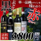 【送料無料】黒ブドウ単一品種のワインを味わおう! 赤ワイン 4本セット B 辛口/ワインセット/フランスワイン/スペイン/アルゼンチン/金賞ワイン