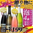 【送料無料】プレゼントにピッタリ♪ スペイン産 甘口辛口 スパークリングワイン 4本セット スペインワイン/ワインギフト/スパークリング/夏のギフト