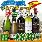 【送料無料】ワイン産地ごとに楽しもう♪スペイン産赤白泡バラエティワイン5本セットB辛口/ワインセット/スペインワイン/赤ワイン/白ワイン/スパークリングワイン
