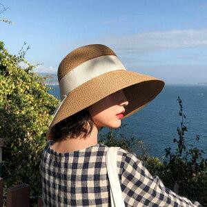 麦わら帽子 レディース ペーパーハット UVカット 春夏つば広 ストローハット 遮光 日焼け防止 紫外線防止 折りたたみ 携帯便利 サイズ調整 日よけ 日常用 旅行 海辺