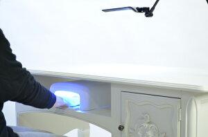 【フレンチロココスタイル家具】対面式ネイル用デスク受付デスクライティングデスクホワイトVTA194【アンティーク調白家具ならビビアンドココ】