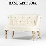 ソファー2人掛けソファアンティークソファーリネン素材のソファ椅子ベージュ系≪ラムズゲイトソファ≫ロマンチック姫系シャビーシックAJ2F80N