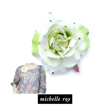 LAセレブ愛用ブランドMichelle roy ミッシェル・ロイラージローズクリップ ホワイト バラ スワロフスキーラインストーンでキラキラ♪ シルクフラワークリップ ヘアアクセサリー ブローチ white rose clip heir accessories kitson キットソン