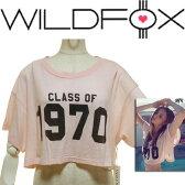 LAセレブ愛用ブランドWild foxワイルドフォックス  ショート丈トップスシャーベットカラー 70'sな気分♪クロップTシャツ 1970CLASS OF 70 - CABANA EXTRA SHORT CROP T へそだし