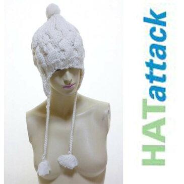 セレブ愛用ブランドHat attack ハットアタックイヤーフラップキャップ アイボリー ホワイト ニット帽 アラン編み ケーブル編み かわいい かっこいい 防寒 耳付き帽 ワッチキャップ ビーニー ニット帽