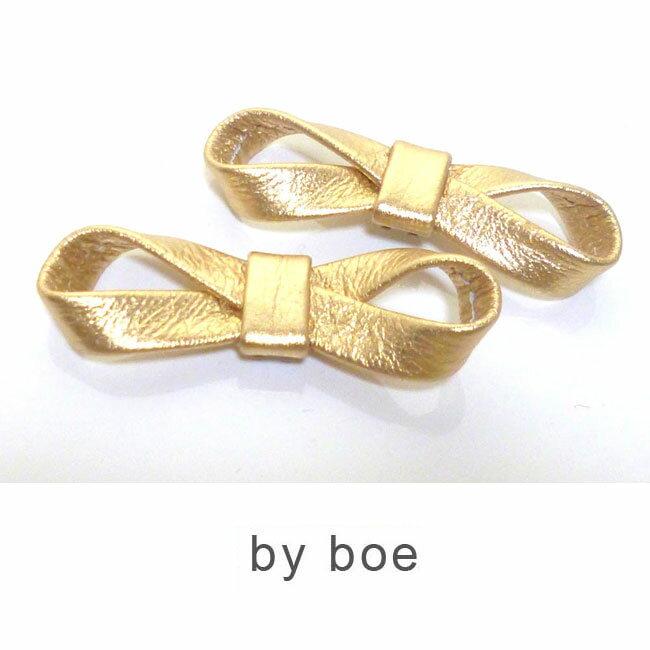 LAセレブ愛用 by boeバイボー柔らかレザーリボンシュークリップ ゴールド バイ・ボー byboe シューズクリップ シンプル おしゃれ かっこいい かわいい きれいめ インポート 靴 パンプス