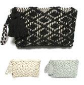 swarajスワラージ モコモコ編みがキュート♪タッセルクラッチバッグ clutch bag ブラック ミントグレー オフホワイト