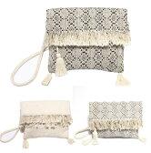 swarajスワラージ ジャガード織りの幾何学柄♪クラッチバッグ ショルダー 2way clutch bag ブラック オフホワイト ライトグレー