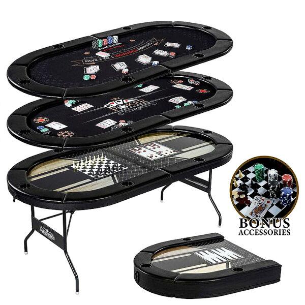 ポーカーテーブルカジノテーブル折りたたみ式6人用ブラック 在庫有り輸入品 ポーカーブラックジャックチェッカーチェスバックギャモン