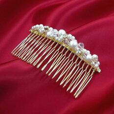 ヘアコームMサイズゴールドツイストパールxラインストーンxクリアカットビーズ〔髪飾りヘアアクセサリーコームかんざし簪〕