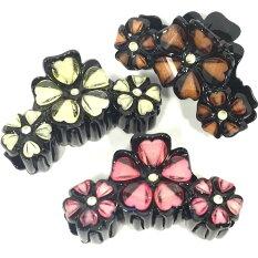 バンスクリップアクリルフラワー大小3つのお花〔ヘアクリップ黒ベースやや多め量の髪どめパンスレディースヘアアクセサリー可愛いお花ストーンまとめ髪ヘアアレンジ〕