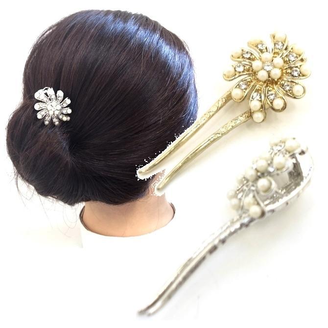 クリップスタイルのかんざしパールビーズとラインストーンコスモス〔ヘアスティックヘアクリップコーム髪飾りヘアアレンジまとめ髪お花フラワー〕