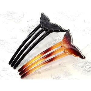 3-पैर वाले बाल छड़ी व्हेल की पूंछ स्फटिक के साथ [कंजशी हेयरपिन बाल कंघी किमोनो टोमसोड हेयर आभूषण]