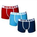 ディーゼル DIESEL ボクサーパンツ3色セット ボクサーブリーフ メンズ ウエストロゴ 無地 Mサイズ