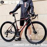 自転車ロードバイク700c前輪ディスクブレーキシマノ21段変速ギア付き超軽量アルミフレームCANOVERカノーバーCAR-014NERO