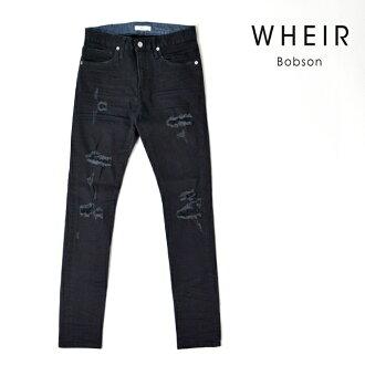 服裝Bobson WHEIR Bobson緊身牛仔褲人黑超級伸展粗斜紋布損傷下襠80 MEN'S BLACK SKINNY JEANS WH-H-009