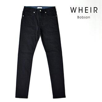 服裝Bobson WHEIR Bobson緊身牛仔褲人黑超級伸展粗斜紋布黑色下襠80 MEN'S BLACK SKINNY JEANS WH-H-009