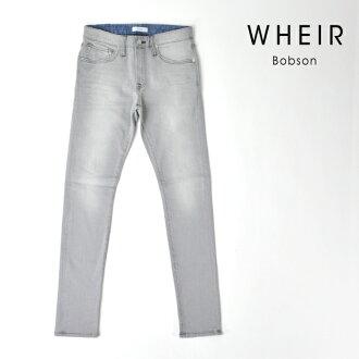 服裝Bobson WHEIR Bobson緊身牛仔褲人黑超級伸展粗斜紋布灰色下襠80 MEN'S BLACK SKINNY JEANS WH-H-009